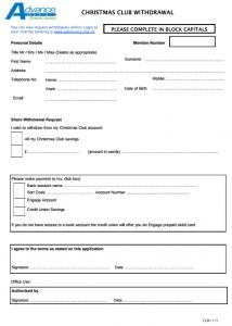 Christmas Club withdrawal form